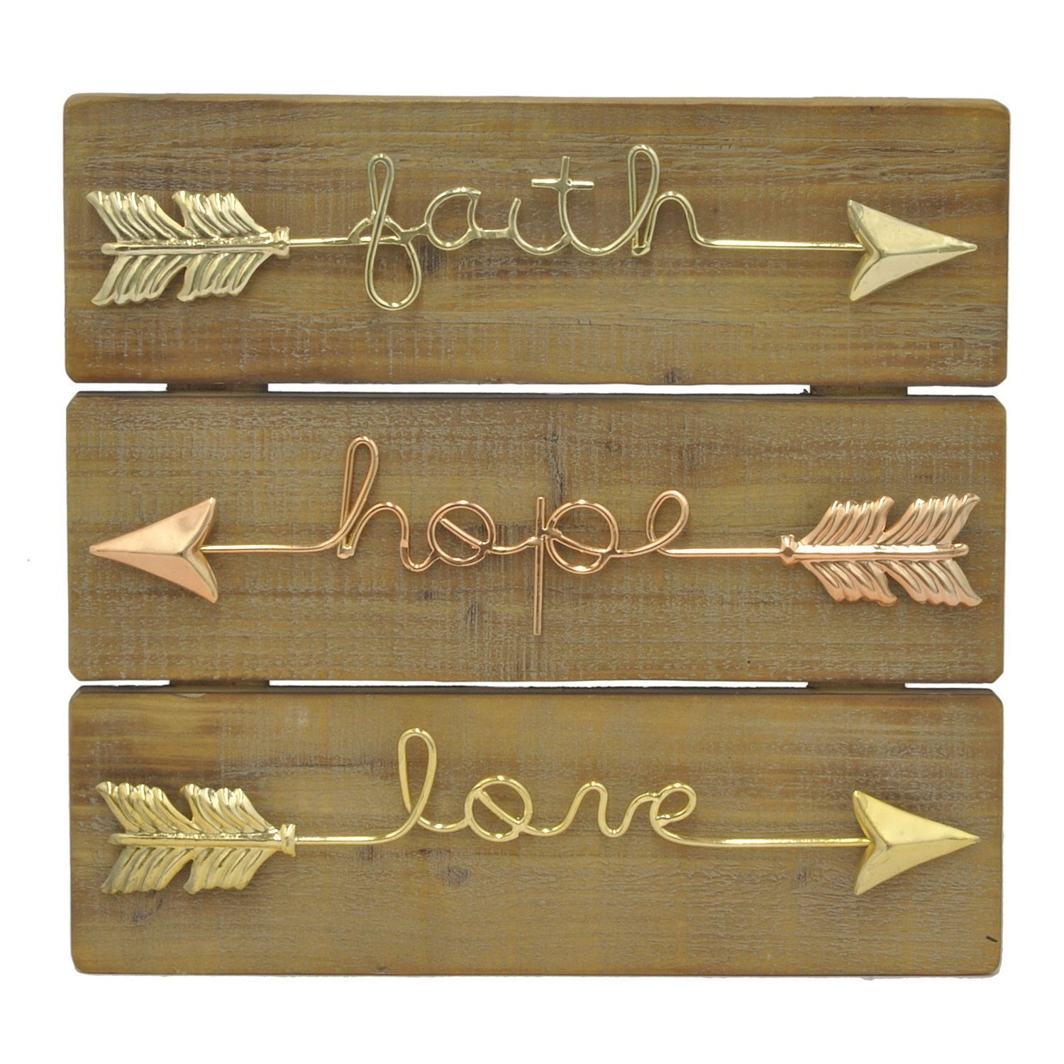 Attrayant Three Hands Inspirational Arrows Goldtone Copper Wood Metal Wall Decor  (Metal Art), Gold