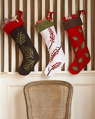 DIY felt stockings-like the rustic details if we go with solid colors