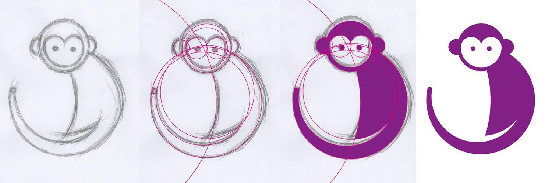 bocetos para la ilustraciones de animales con círculos