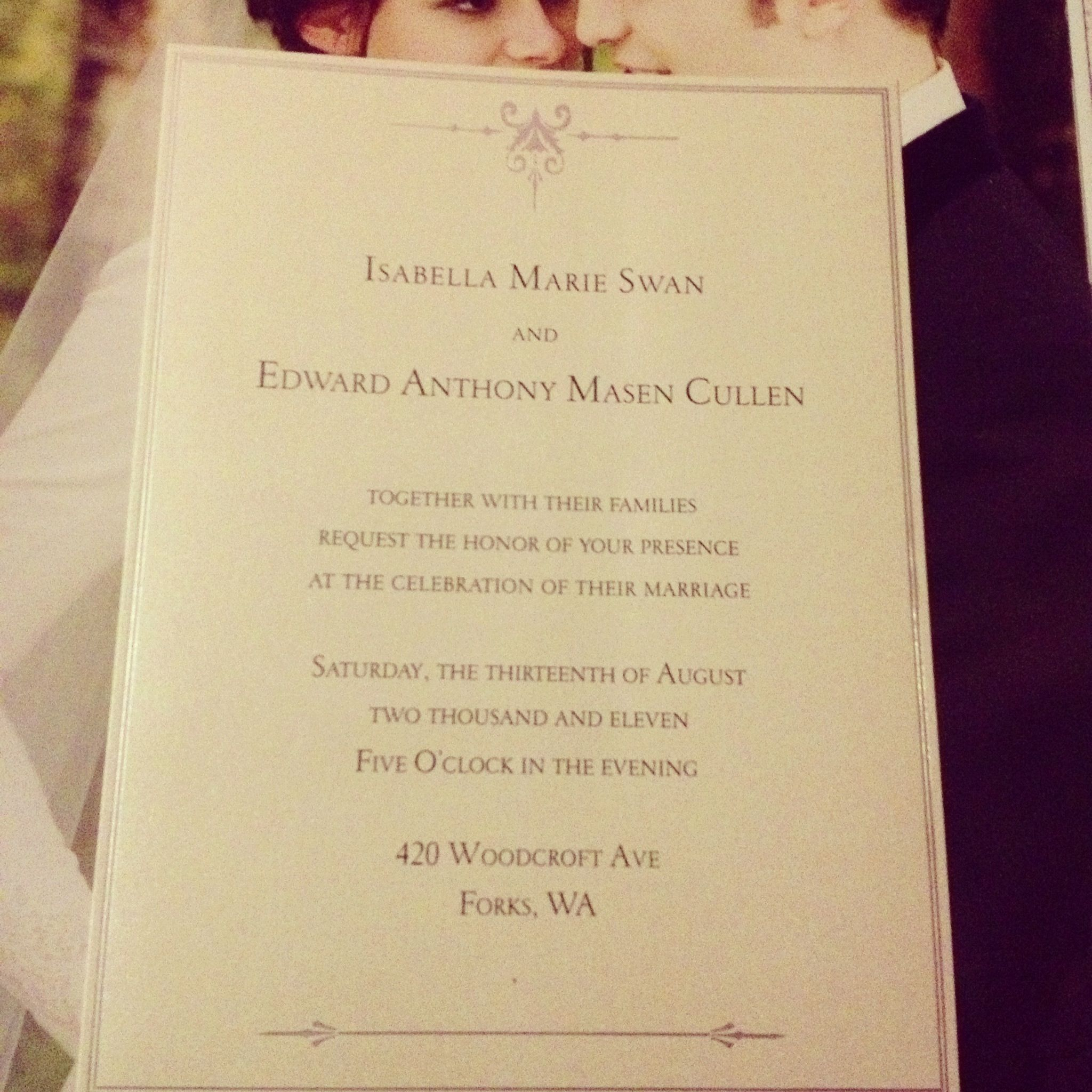 Wedding invitation from The Twilight Saga: The Complete Film ...
