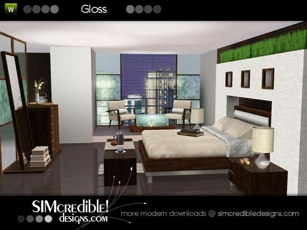 gloss cozy bedroom with modern touch by simcredible! - sims 3, Modern haus