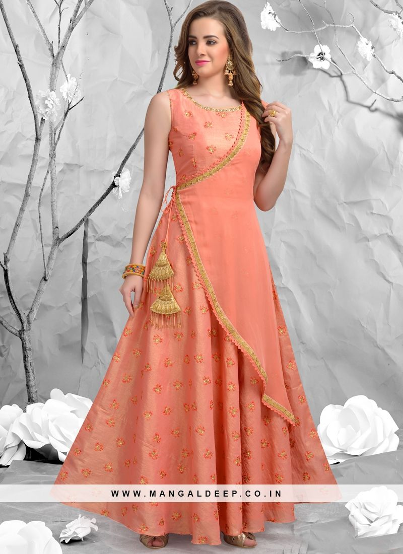 8a45e79397 Peach Embroidered Anarkali Party Wear Readymade Suit | Dresses in ...