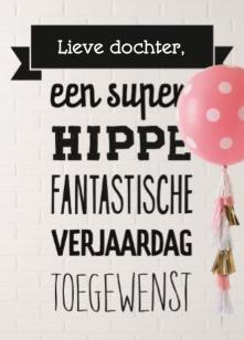 Verjaardagskaart Meiden Super Hippe Fantastische Verjaardag