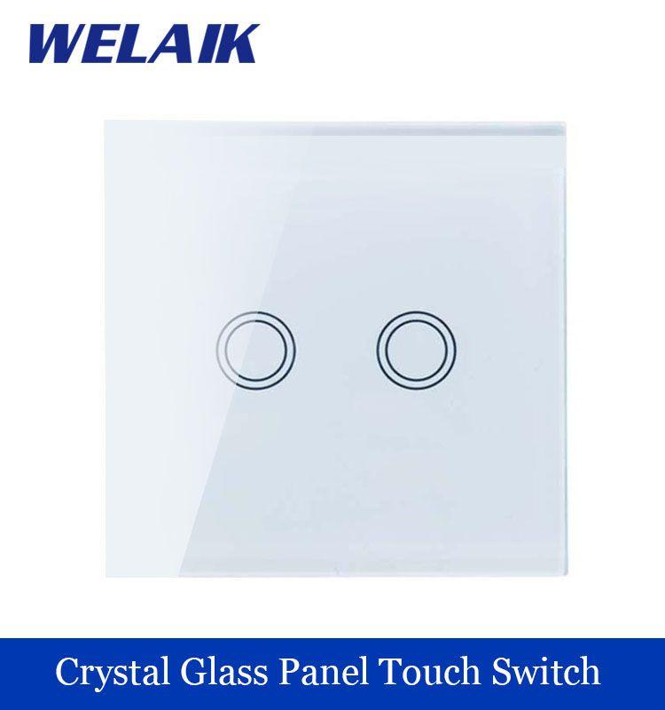 새로운 크리스탈 유리 패널 벽 스위치 EU 표준 110 ~ 250 볼트 터치 스위치 화면 벽 스위치 2 갱 1 방법 화이트 WELAIK 브랜드