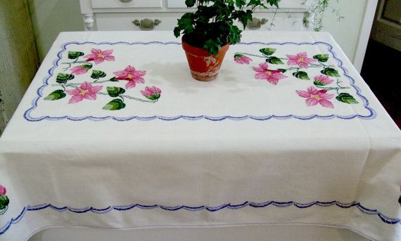Gorgeous Embroidered Tablecloth Vintage Pink by TheSweetBasil
