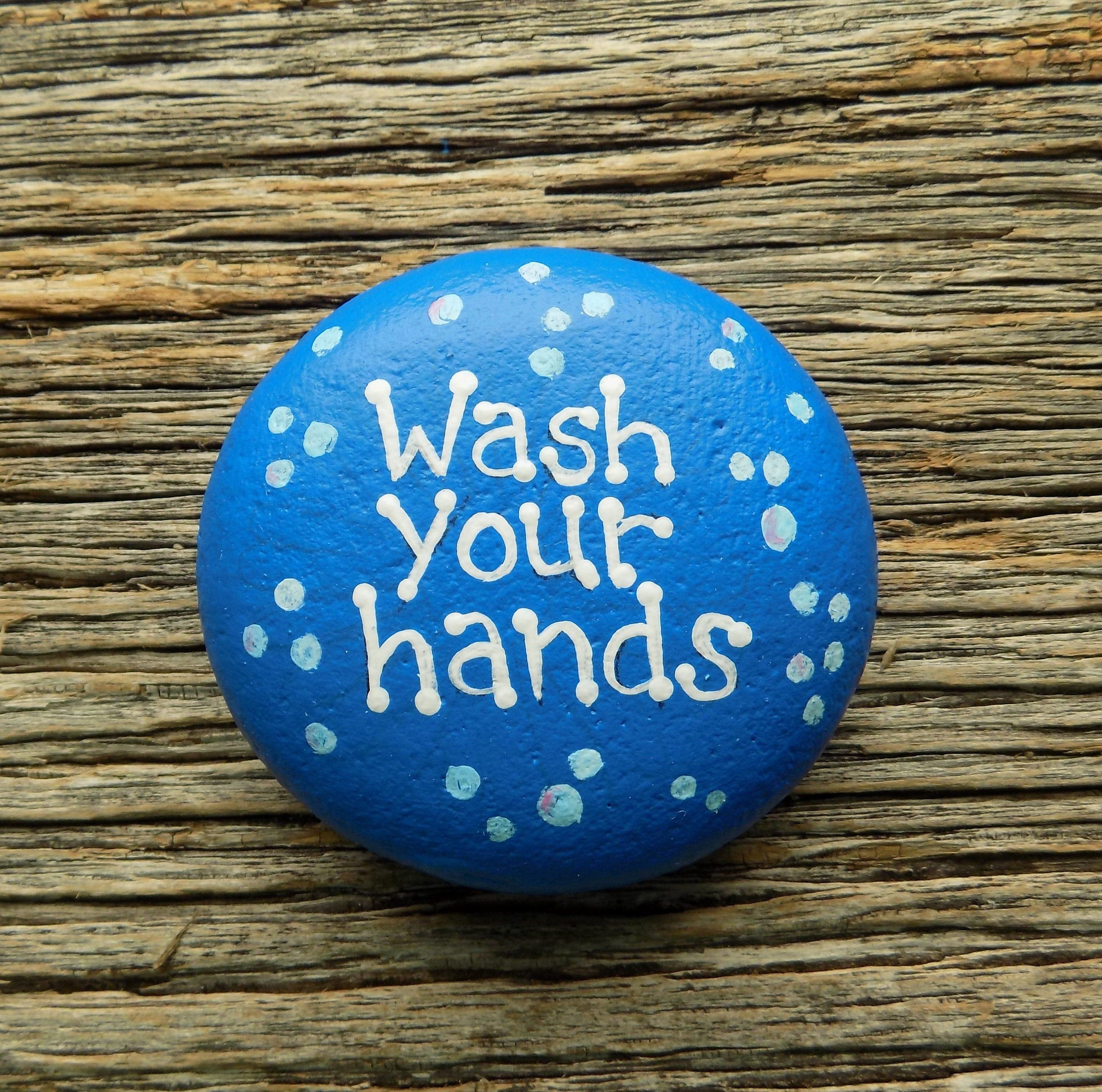 Photo of Wash Your Hands Painted Rock,Decorative Accent Stone, Paperweight