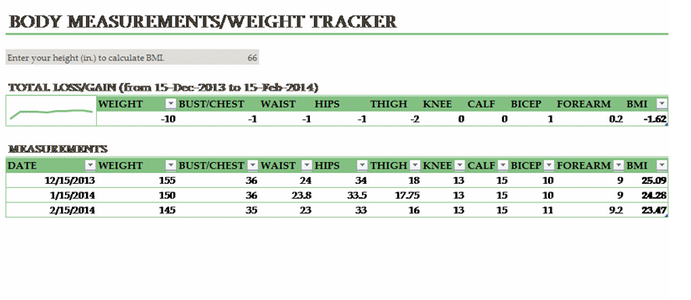Body Measurement Weight Tracking Template proves helpful to track ...