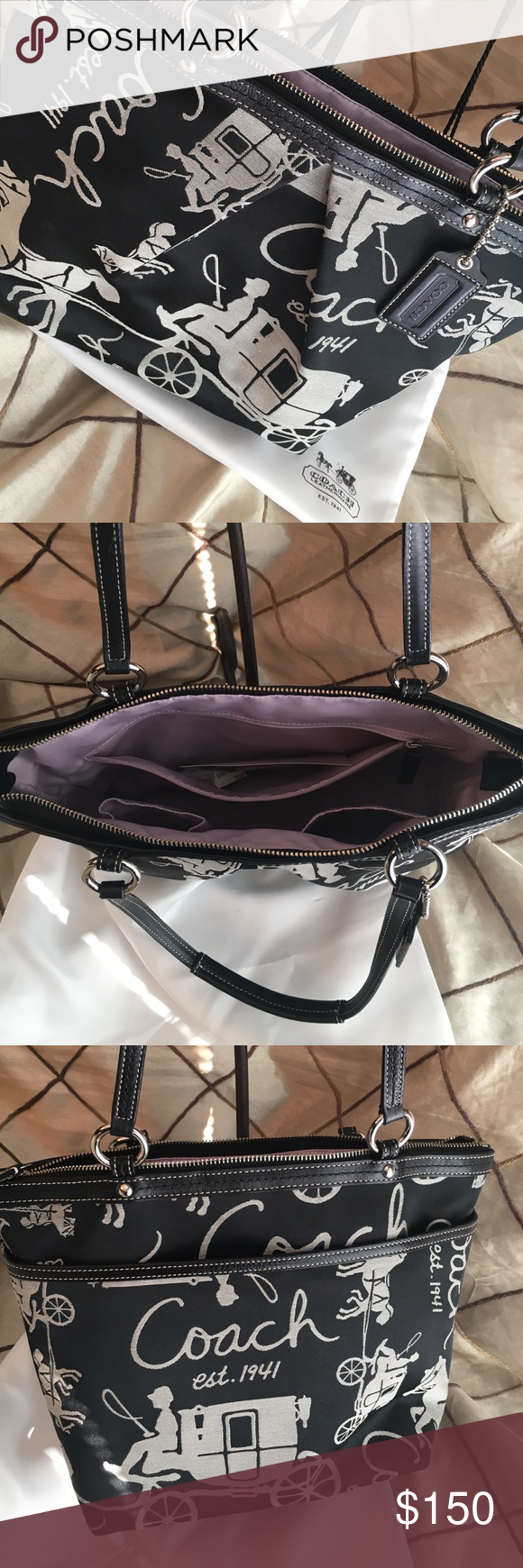 Authentic Coach Signature Hac Tote ✨Black & White Coach Tote✨ purchased at the Destin Coach Store by my Mom when she was working. She is retired now. Your Gain. Light lavender inside & large outside pocket. Dust Bag included Price tag and paper still inside bag✨MSRB $268 K0993-F14482 Looks Brand New & in Excellent Condition✨ Coach Bags Totes