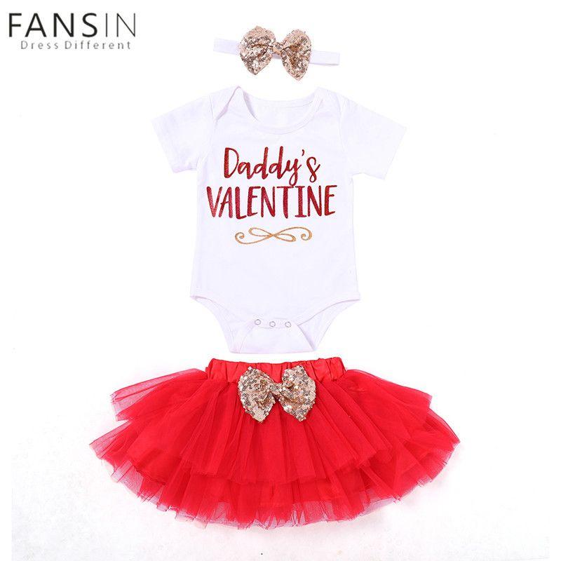 3Pcs Toddler Baby Kids Girls Clothes Romper+Tutu Skirt+Headband Set Outfits Sets