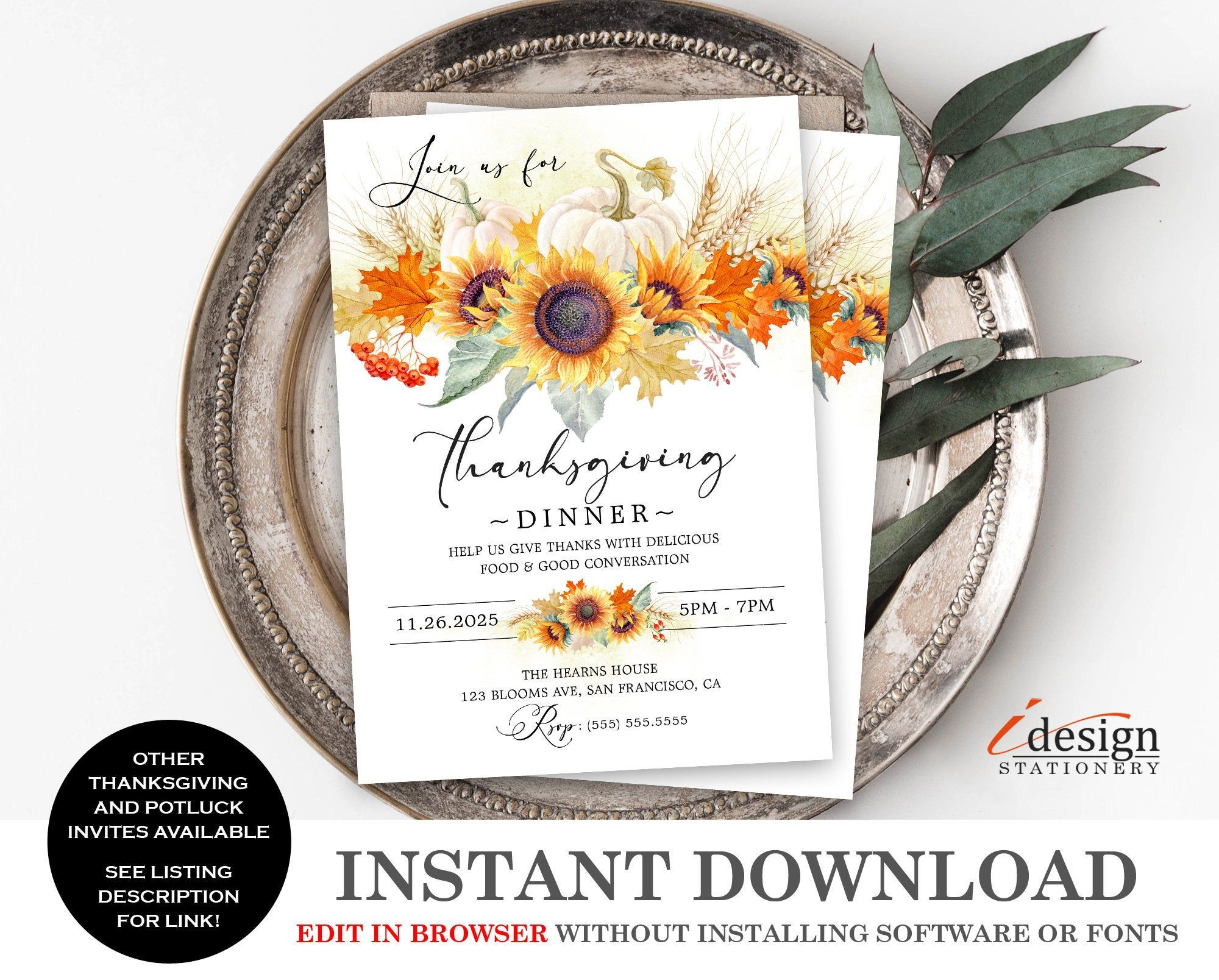 Thanksgiving Harvest Festival Invitation Thanksgiving Dinner Invitation Thanksgiving Invitation Template Invitations