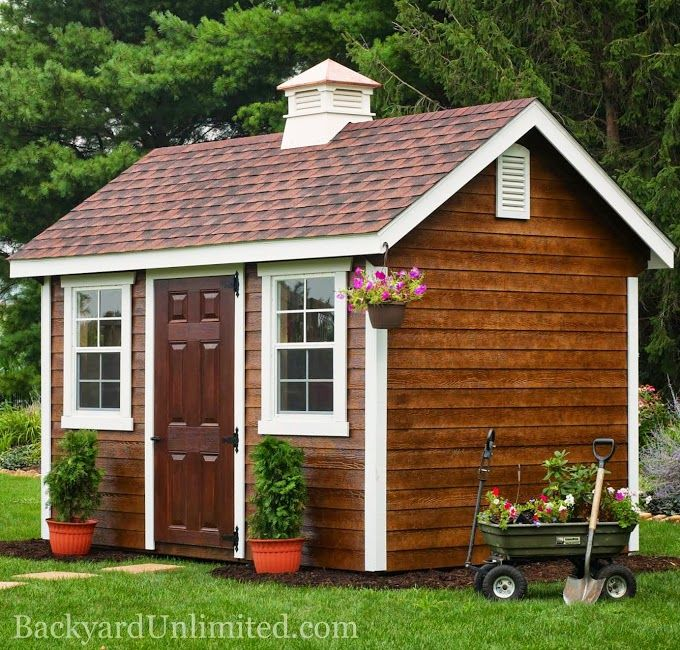 8 39 x12 39 garden shed with lap siding cupola mushroom stain for Garden shed ventilation