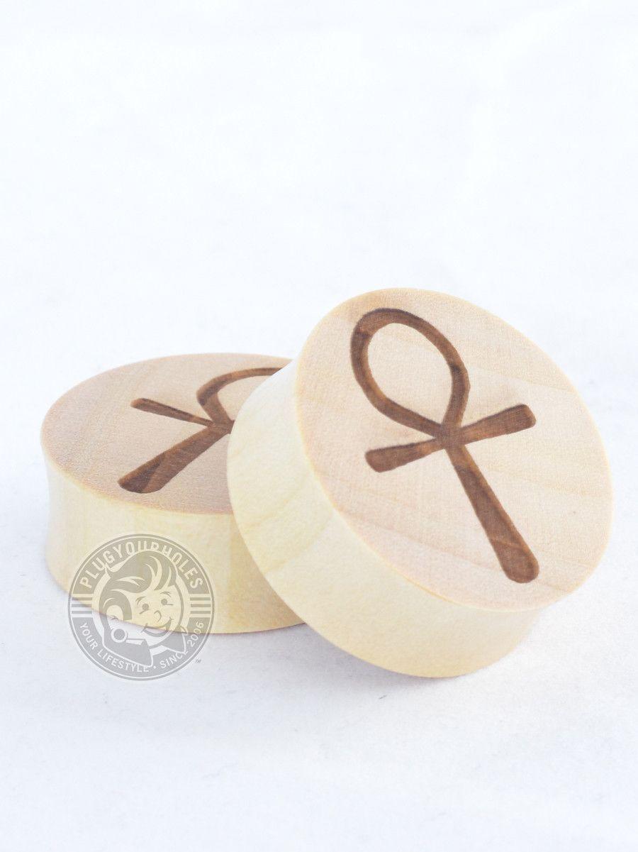 Ankh Engraved Wood Plugs | Plugs | Wood plugs, Wood, Wooden