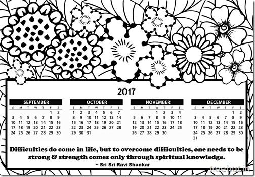 Free printable 2017 calendar coloring page for kids 2