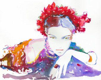 Items similar to Watercolor Fashion Illustration Print 8 x 10, titled: Biba on Etsy