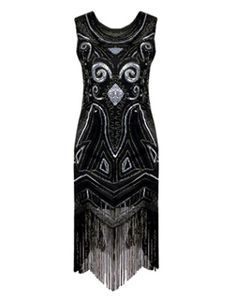 Grande Gatsby Flapper Vestido de 1920 Traje Do Vintage das Mulheres Preto  Lantejoulas Borlas Flapper Traje Menina Halloween d81c07ea568b
