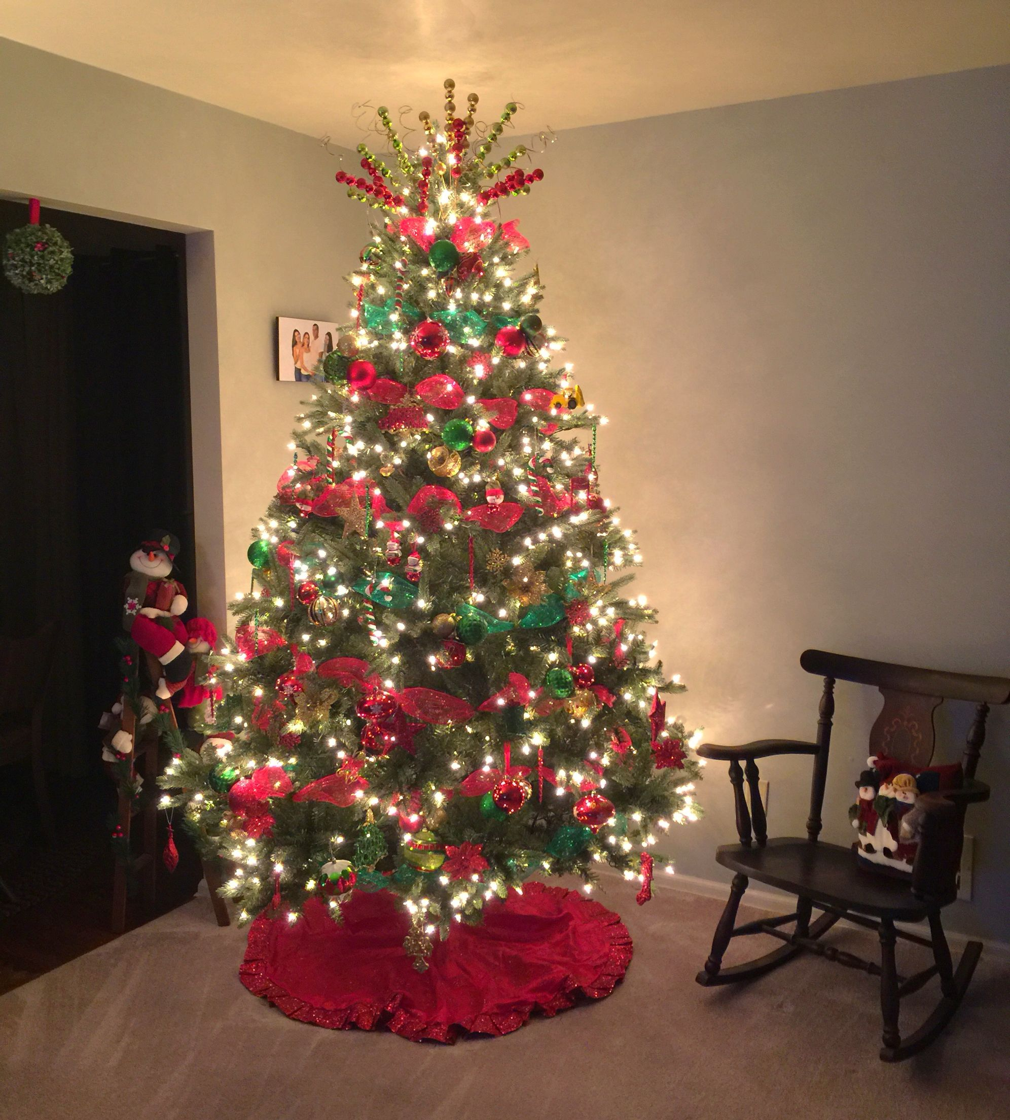 Christmas Tree Traditional Colors Red Green And Gold Rbol De