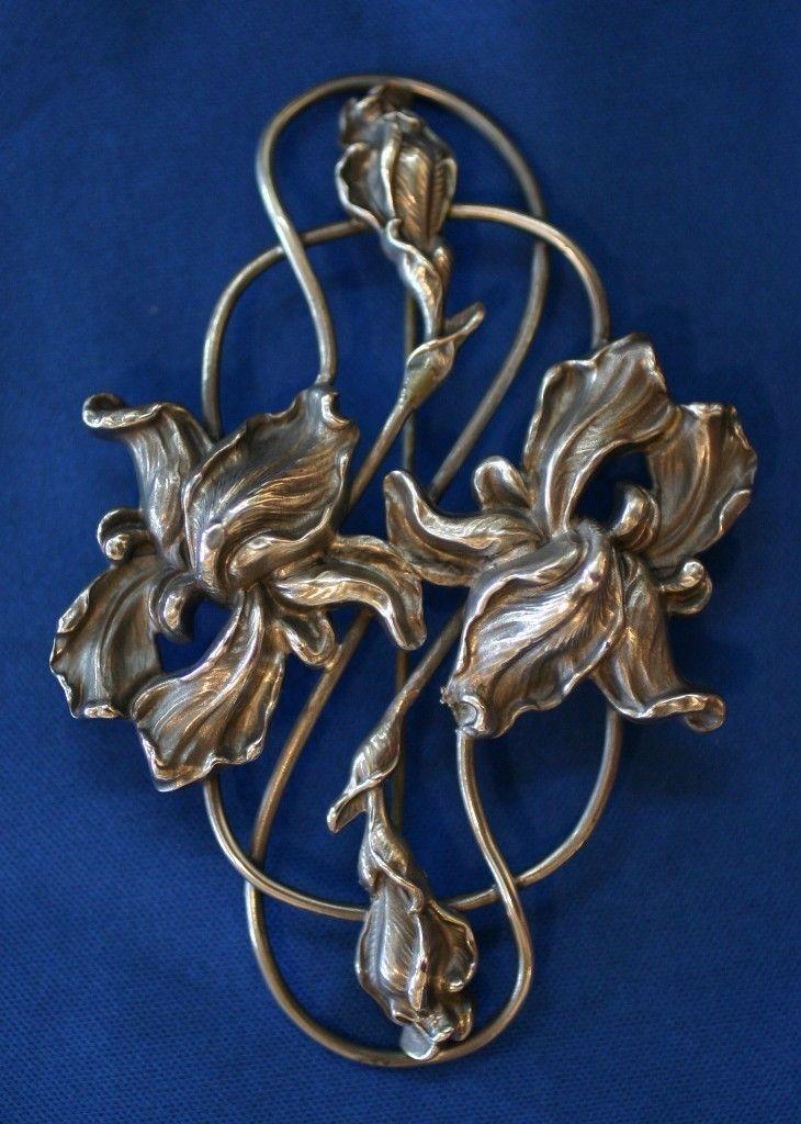 Art Nouveau Iris Brooch Pin Ebay Art Deco Jewelry Art Nouveau Jewelry Silver Art