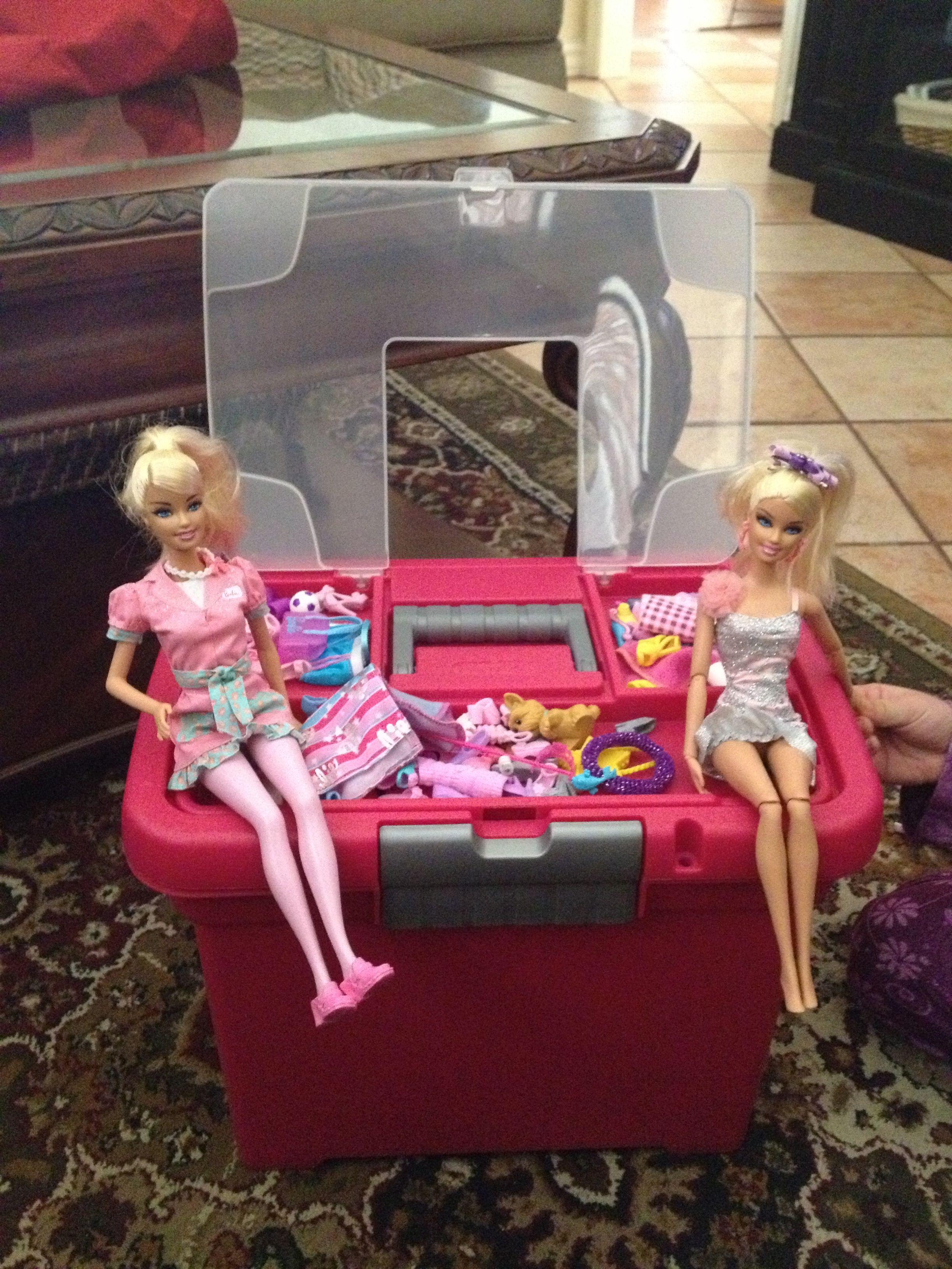 Sterlite File Box To Hold Barbie Accessories On Top And Barbies Inside Barbie Accessories File Box Barbie