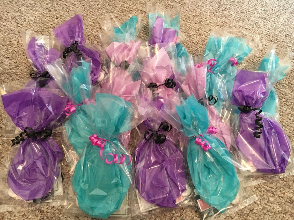 Mary Kay goodie bags with samples, business card, and