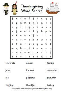 Thanksgiving Puzzles Thanksgiving word search