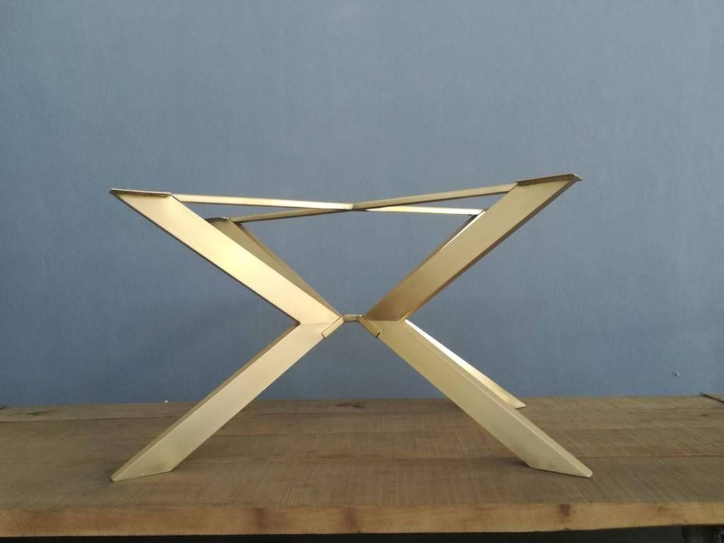 28 H 24 W X 46 L Tug Brass Modern Table Base Brass Table Base Rustic Dining Furniture Wooden Dining Furniture