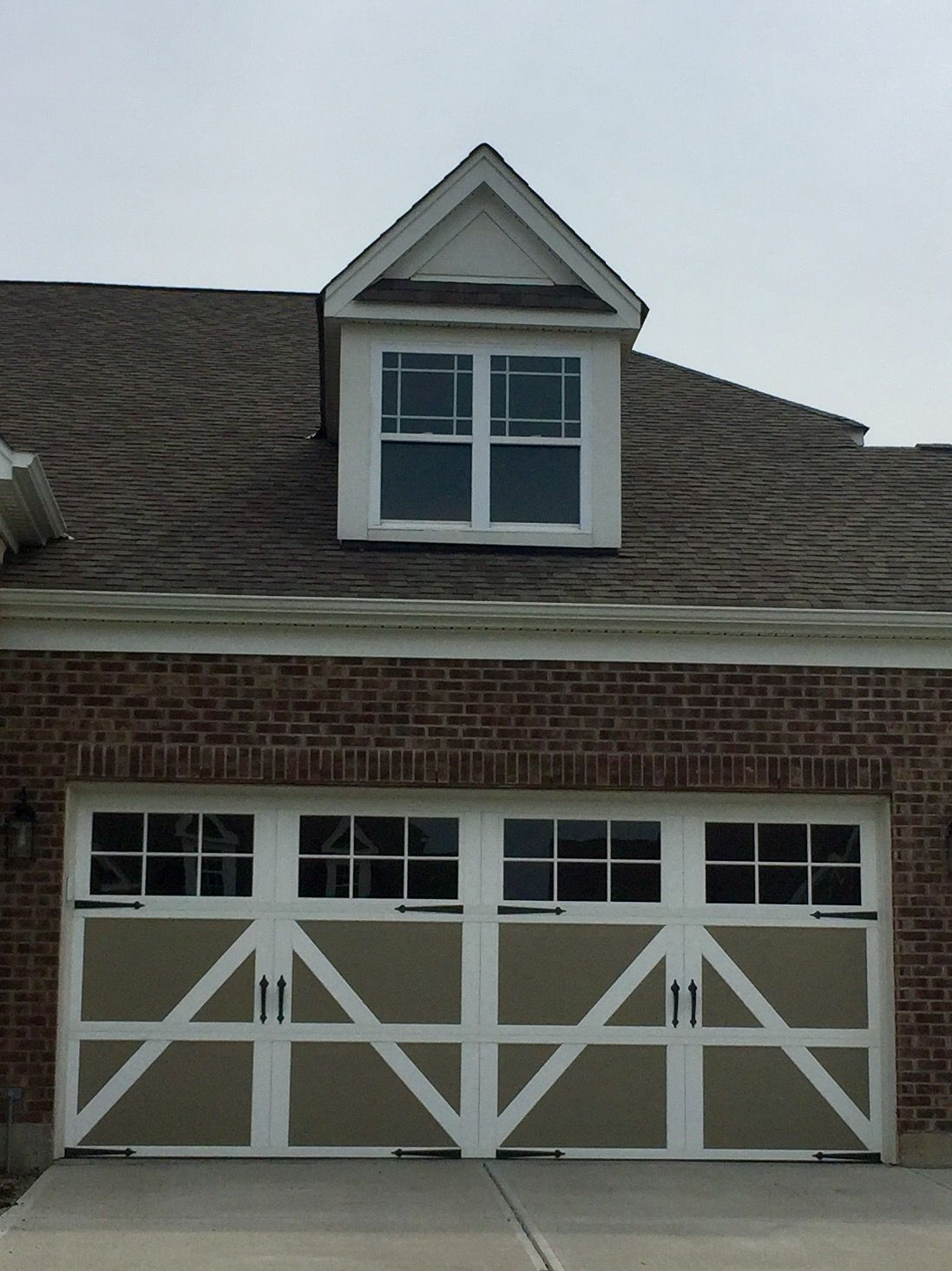 303 Carriage Garage Doors Clay With White Overlay 12 24 Window Square Spear Hardware Garage Doors Carriage Garage Doors Doors