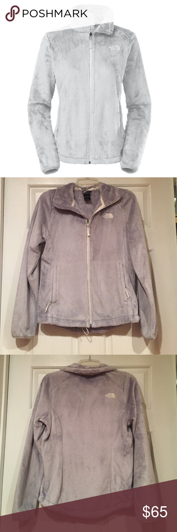 North face osito gray fleece jacket face conditioner and grey