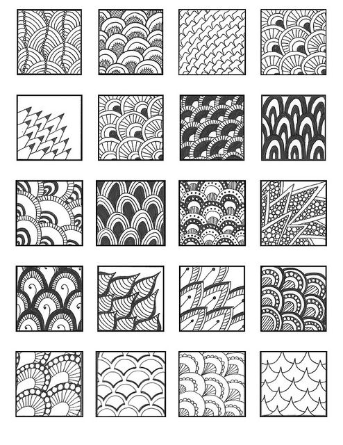 Scale01 zentangles patterns and doodles for Simple doodle designs with names