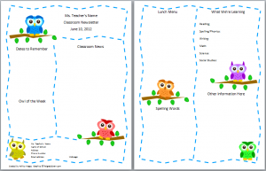 owl themed classroom forms nameplates and a new newsletter
