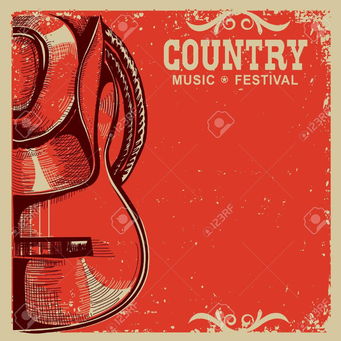 Western Country Music Poster With American Cowboy Hat And Guitar On Vintage Card Background Illustrat Country Music Festival Music Festival Poster Music Poster