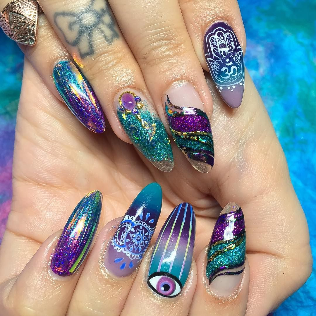 Penny\'s mystical nails✨Hard gel fill with hand painted designs and ...