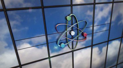 Atom symbol glass skyscraper with mirrored sky illustration