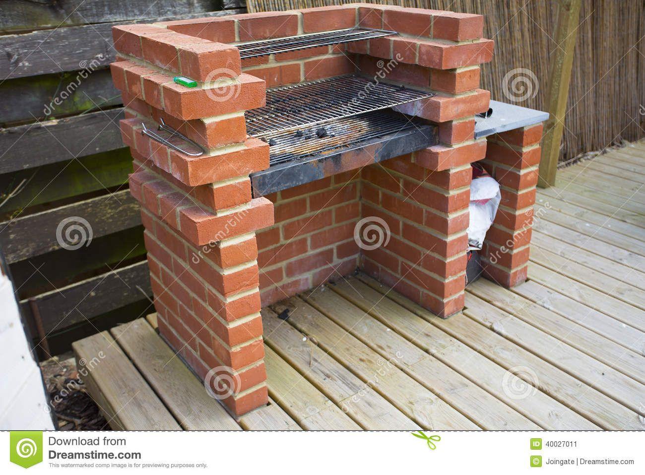 Home Made Built Brick Barbeque Bbq Bricks Outside Family