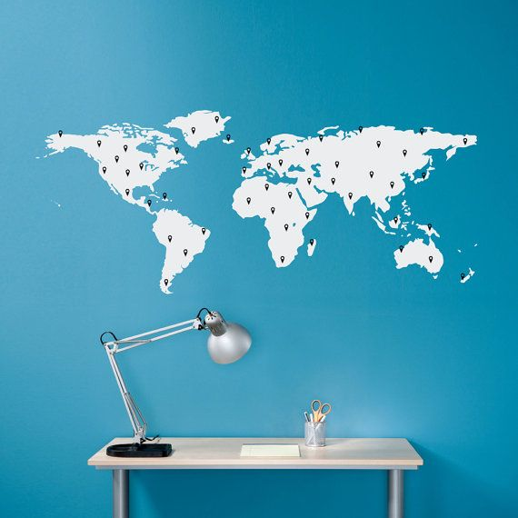 World map decal with 50 marking pins geography wall art medium the world map wall decal for the mission booth in brown and we can mark gumiabroncs Images