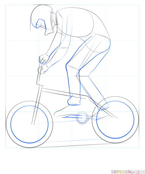 How To Draw A Bmx Biker Step By Step Drawing Tutorials Bike