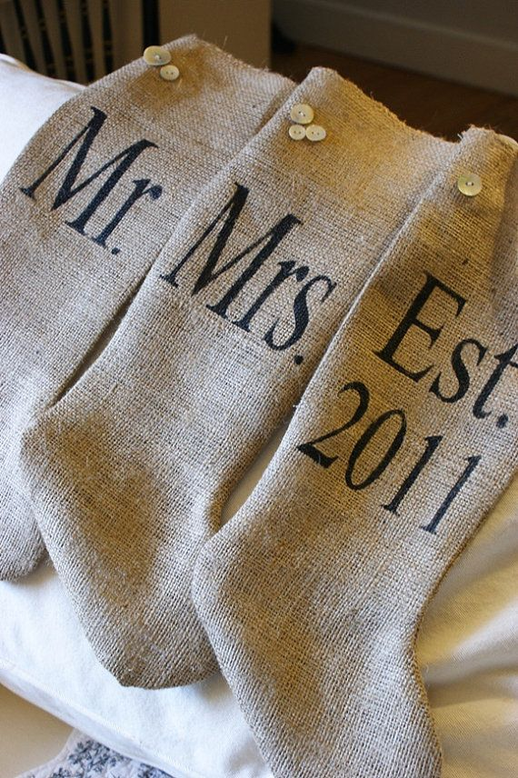 Awww - This is TOO CUTE!  Personalized Vintage Mr. and Mrs. and Est. Date Burlap Christmas Stockings Set of Three  - an Exclusive to My Adobe Cottage. $75.00, via Etsy.