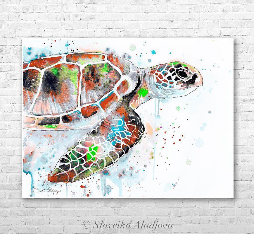 Aquarelle De Tortue De Mer Verte Peinture Impression Par Slaveika