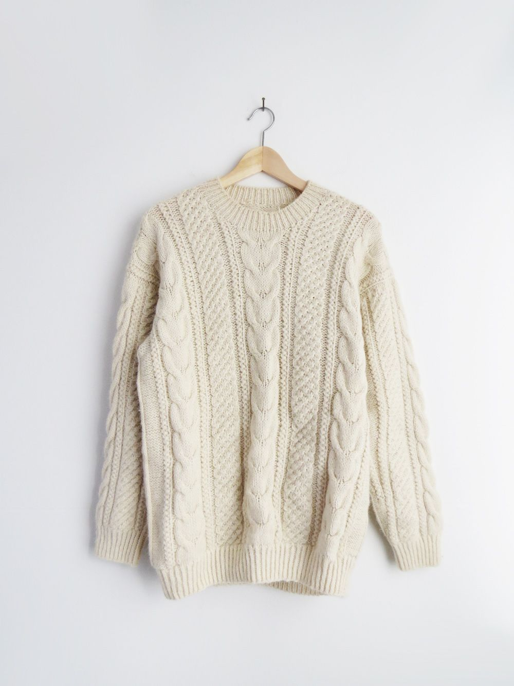 Cream Knit Sweater // Vintage Fisherman Sweater | Z-SOİL CREAM ...