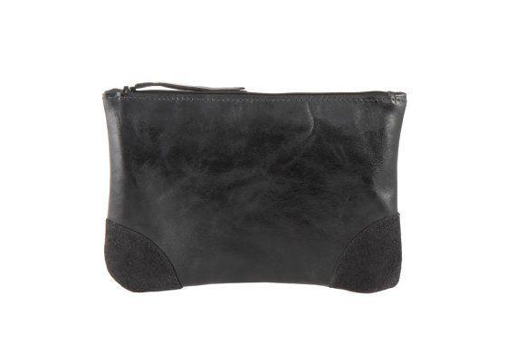 Black Leather clutch - Eevening clutch - clutch purse - Black purse