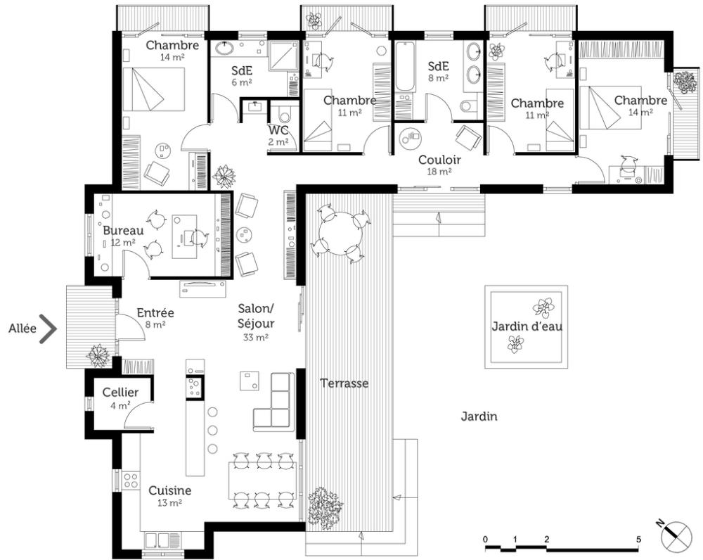 plan maison plain pied 2 chambres guadeloupe - Recherche Google | Plan maison