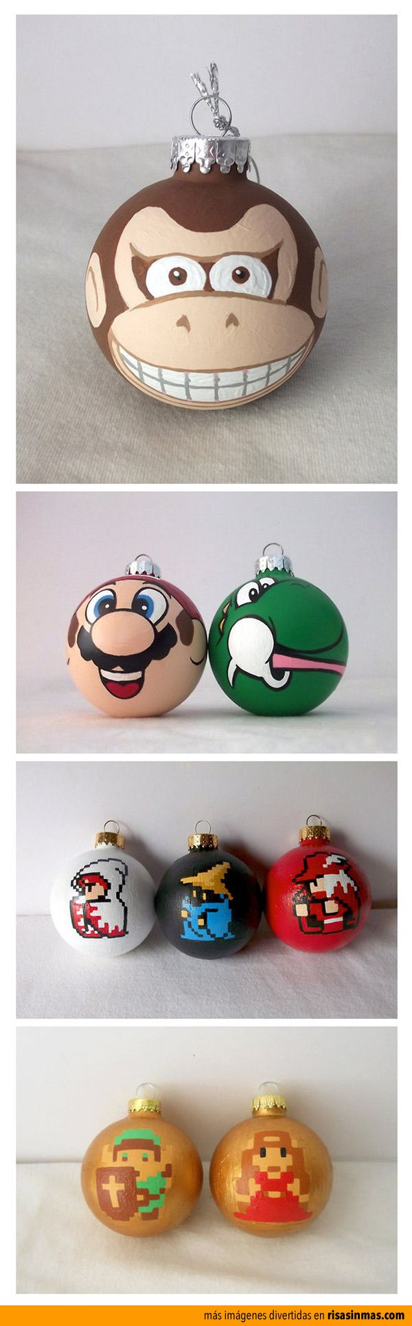 hand painted Nintendo holiday ornaments, super cute! | General ...