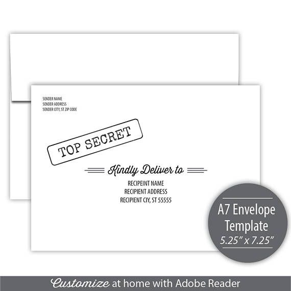 A Envelope Template Printable Address Label Template For A - A7 Envelope Template