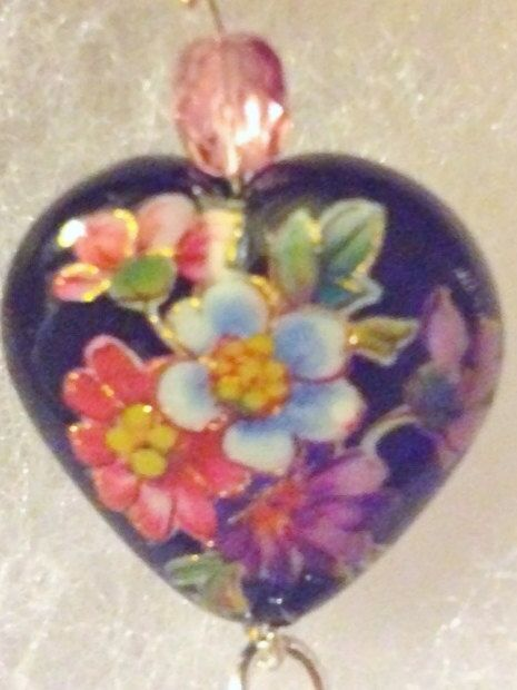 Victorian Valentine Tensha Heart Tassel Necklace by RubySlipper