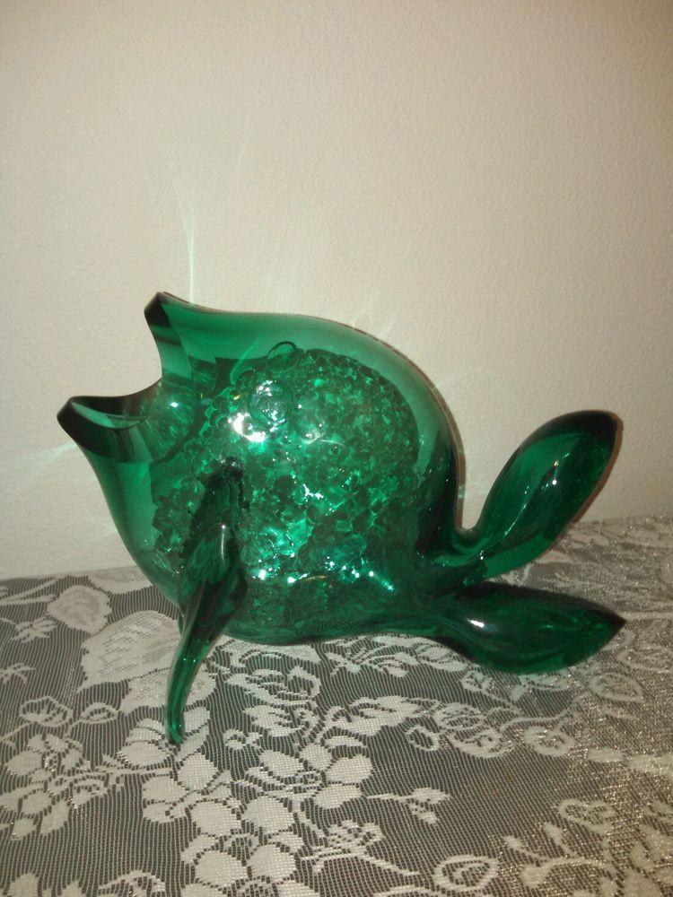 Beautiful Signed Blenko Dark Aqua Green Glass Fish Vase Large