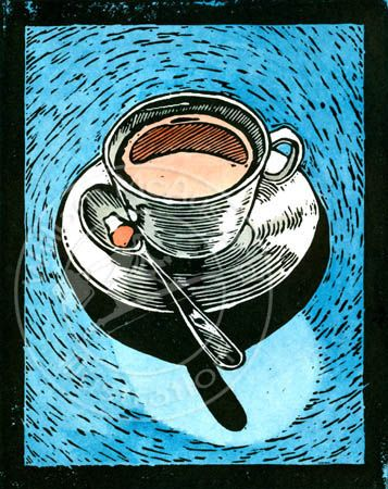 Coffee Cup Lino Block Print Color Version Stock Illustration By William McAusland