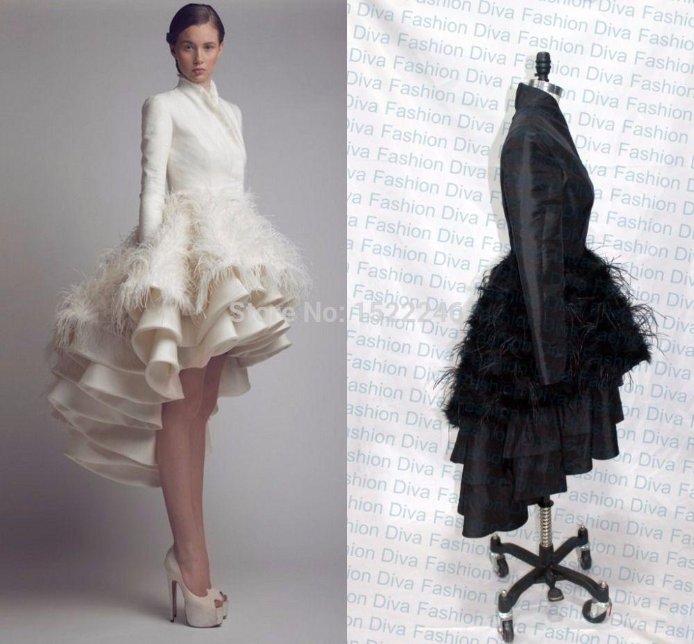 Real Photo 2015 Ashi Studio Long Sleeve Short Front Long Back Prom ...