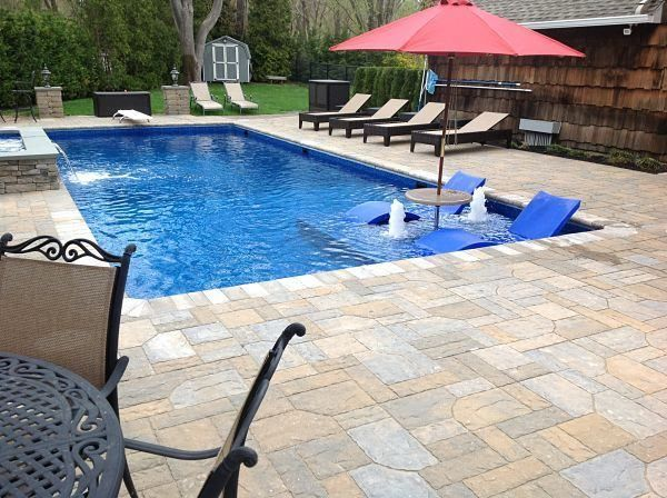 Fiberglass Pool Ideas fiberglass pool in wooden deck outdoor ideas and gardening pinterest fiberglass pools and wooden decks Fiberglass Pool With Tanning Ledge Google Search