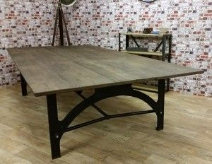 Vintage Cast Iron Trestle Table Base Rustic Oak Top 3000mm Long X 1500mm  Wide