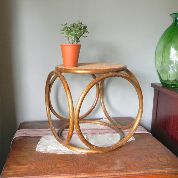 Vintage Bentwood And Caned Cane Stool By Michael Thonet For Thonet Side  Coffee Table Plant Stand