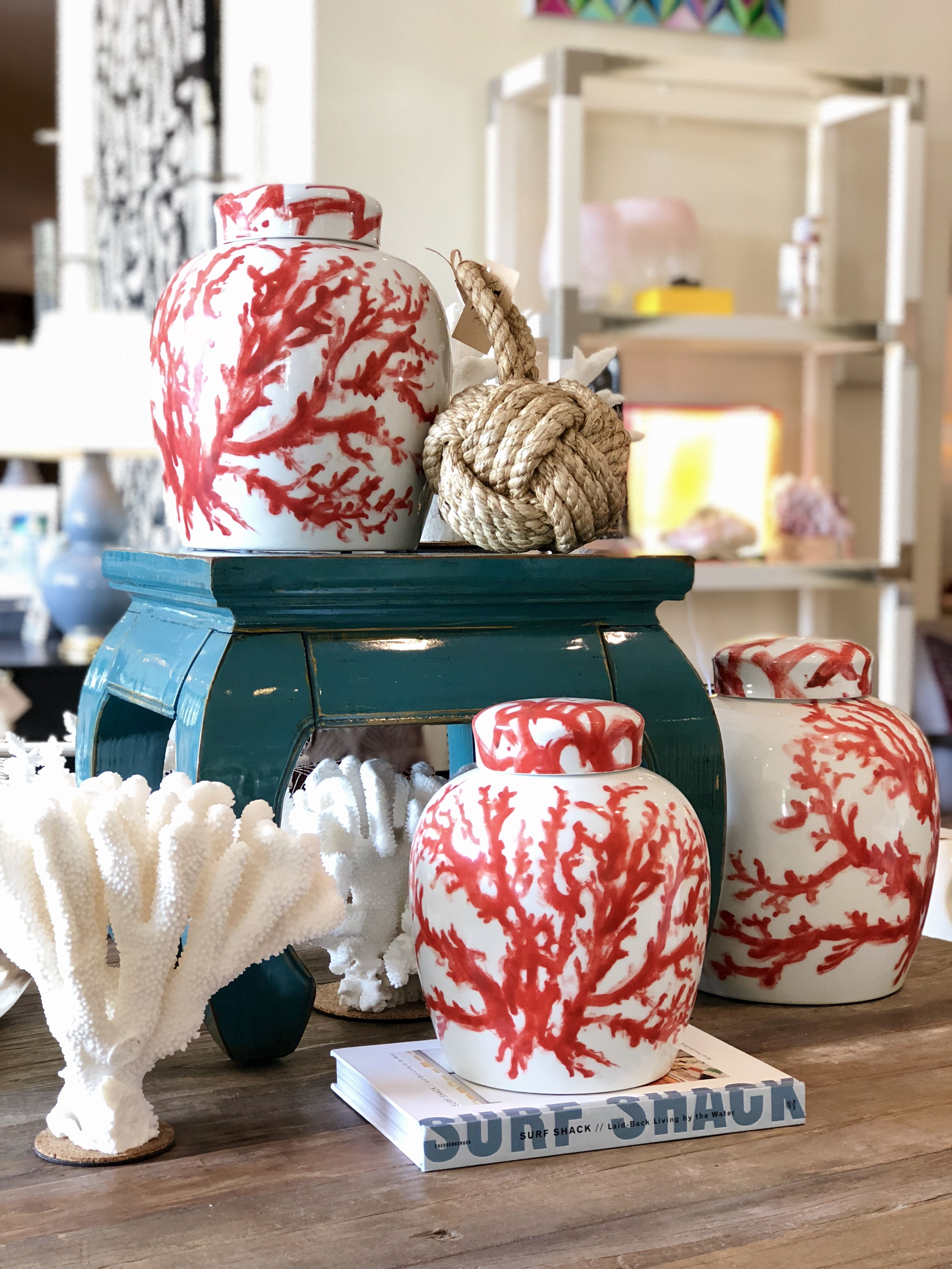 Coral accessories for every space at Mecox Dallas interiordesign